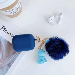 Silicone Earphone Case with Hook,Cartoon Toy and Pompom Ball For Airpod Pro